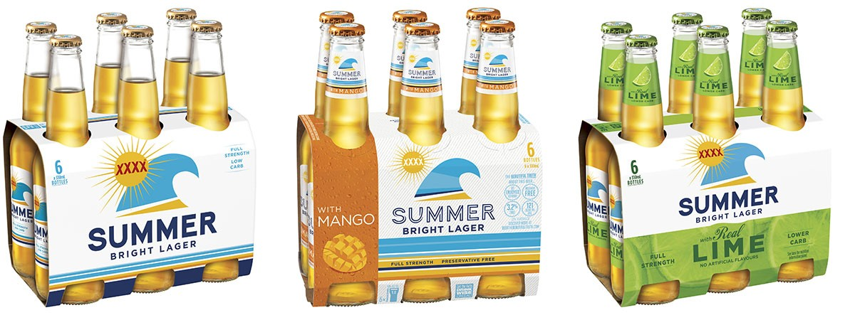 XXXX Summer Bright 6 pack stubby range
